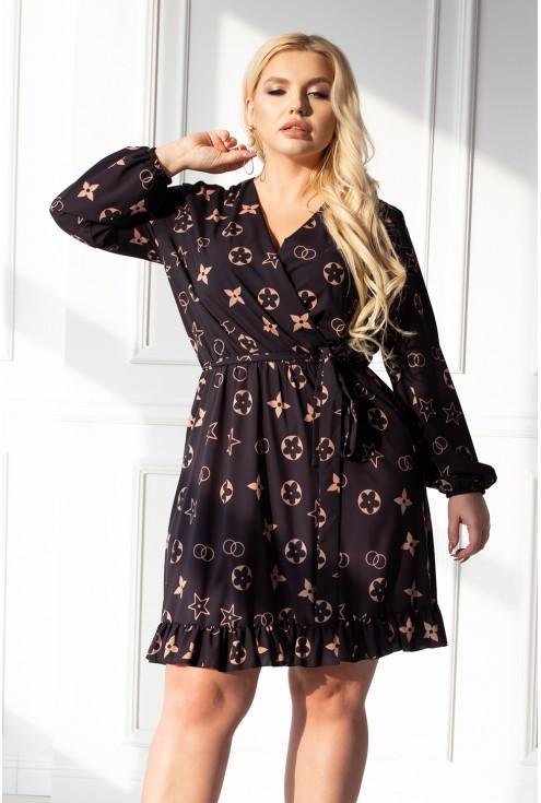 modna czarna sukienka w karmelowy wzór