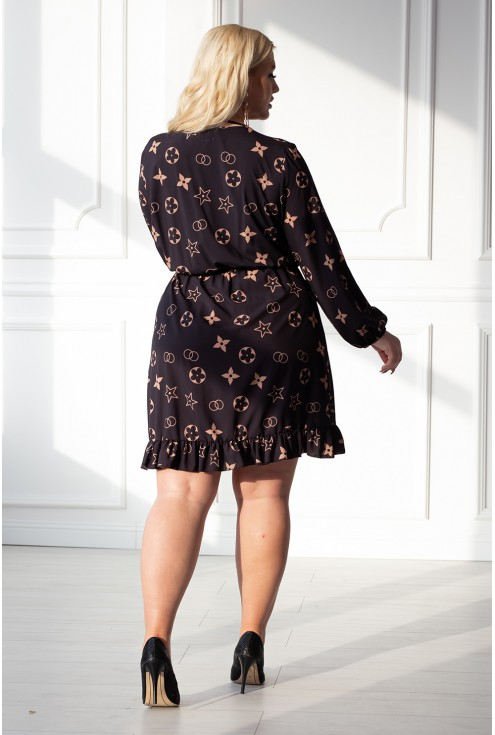 Czarna sukienka z modnym wzorem - ALEXA