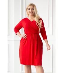 Czerwona sukienka z kopertowym dekoltem - LUCINNE