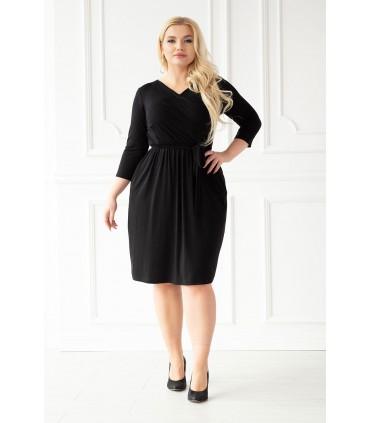 Czarna sukienka z kopertowym dekoltem - LUCINNE