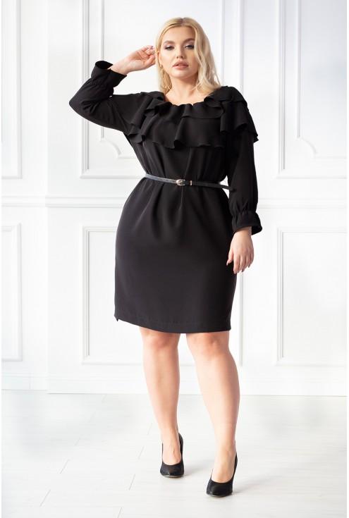 czarna sukienka z dekoltem obszytym falbanką