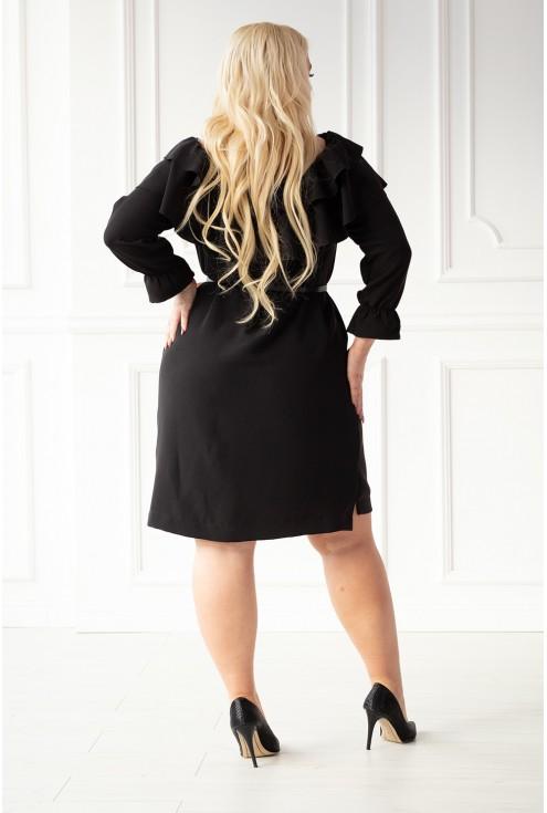 Czarna sukienka hiszpanka z dekoltem obszytym falbanką - MAITE