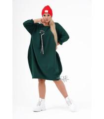 Butelkowa sukienka oversize z ozdobną wstążką - AJANA