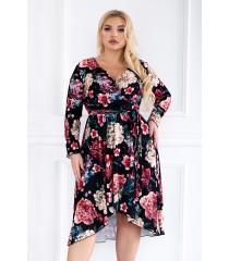 Asymetryczna sukienka plus size w kwiatowy wzór DOLCE