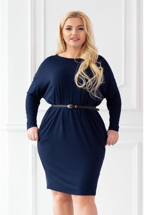 Granatowa sukienka oversize z długim rękawem - YVETTE II