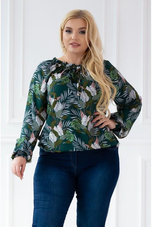 bluzka Violet tropikalny wzór - duże rozmiary