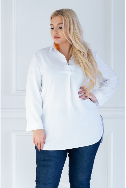 biała elegancka koszula plus size - Susanita