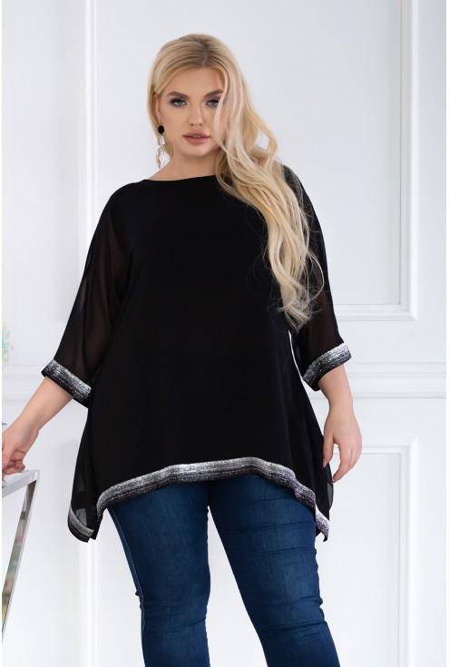 czarna bluzka z błyszczącymi taśmami - plus size