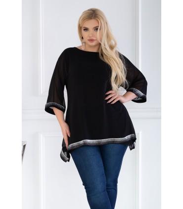 Czarna szyfonowa bluzka z błyszczącymi taśmami - FREYA
