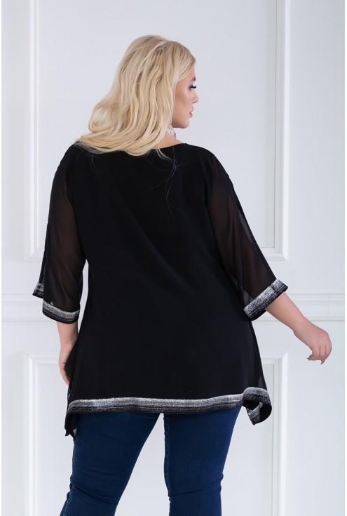 czarna szyfonowa bluzka - tył