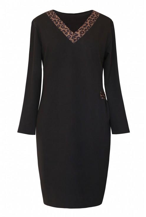 czarna sukienka dresowa z dekoltem w panterkę xxl