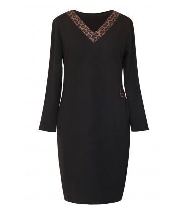 Czarna sukienka dresowa z dekoltem V w panterkę- MADELINE