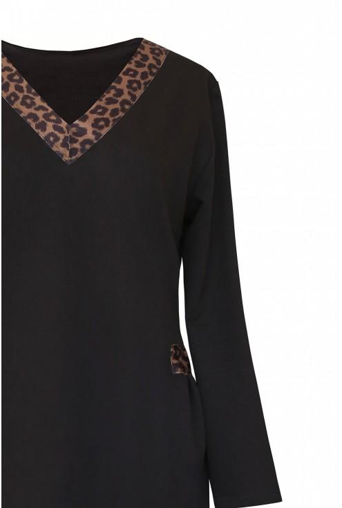 czarna dresowa sukienka - góra detal