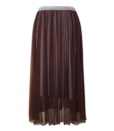 Brązowa tiulowa spódnica ze srebrną gumką - HOLLY