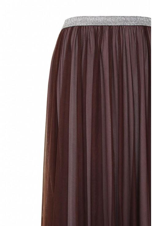 brązowa tiulowa spódnica - góra detal