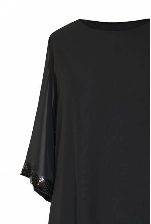 czarna szyfonowa bluzka z cekinami