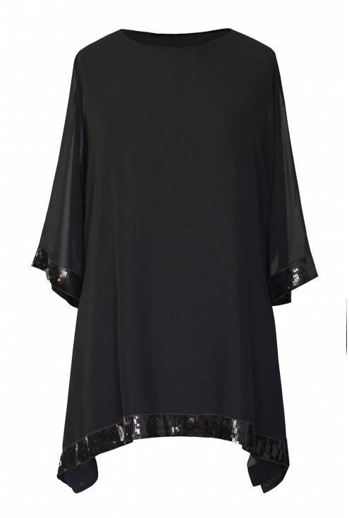czarna szyfonowa bluzka z cekinami FREYA - duże rozmiary