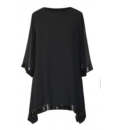 Czarna szyfonowa bluzka z cekinami - FREYA