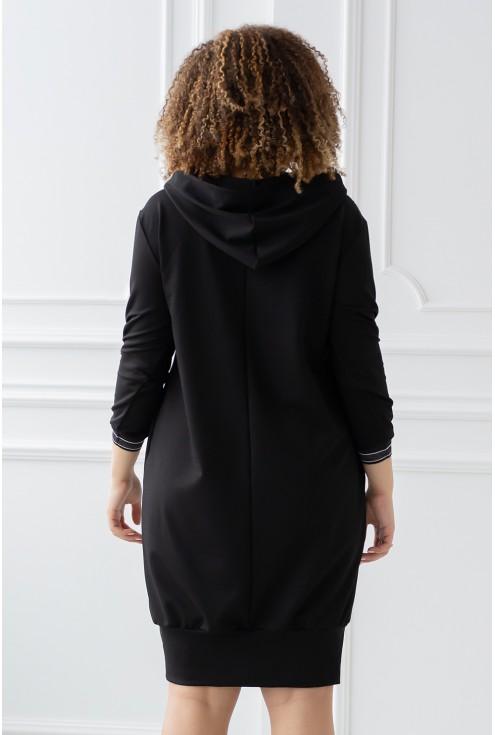 czarna tunika z kieszonką - tył