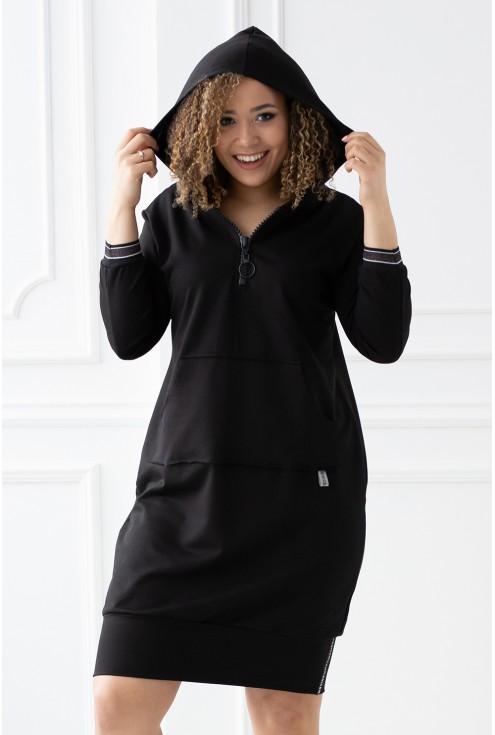 czarna długa tunika sportowa z kieszonką