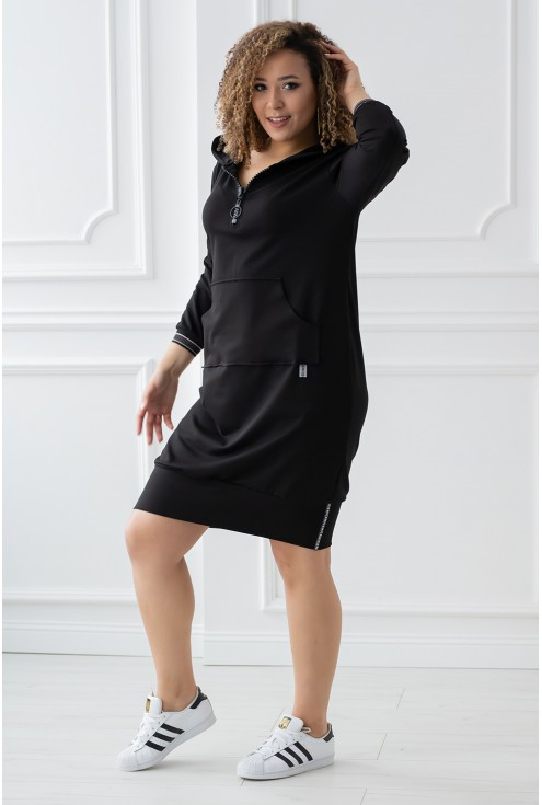 czarna długa tunika/bluza z kieszonką - FLORA