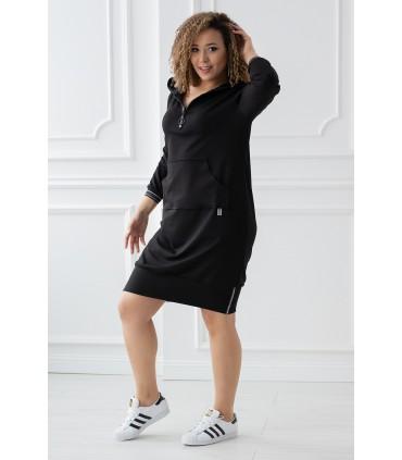 Czarna sportowa tunika/sukienka z kieszonką z przodu - FLORA