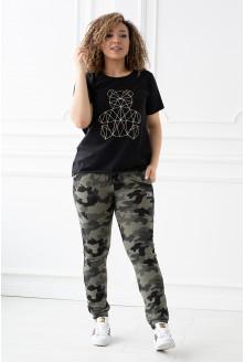 spodnie dresowe z kieszeniami wzór moro