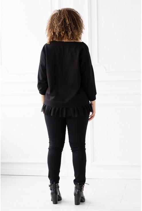 czarna bluza z falbaną - tył