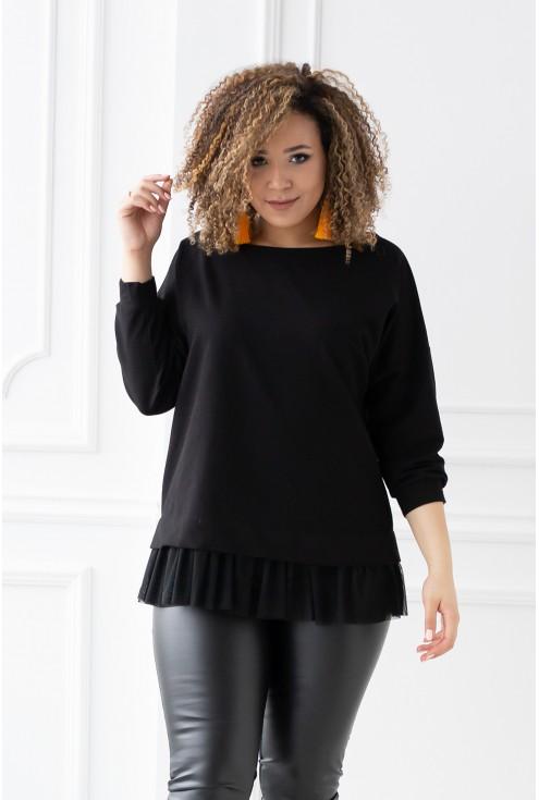czarna bluza z tiulową falbaną - rozmiary xxl