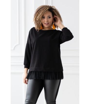 Czarna bluza z tiulową falbanką na dole - CAITLIN