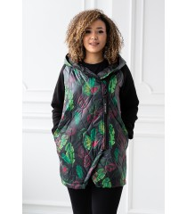 Czarna bluza-kurtka z kapturem - wzór w liście - SISSY