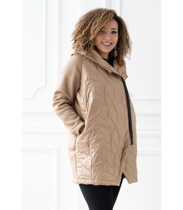 Karmelowa bluza-kurtka z kapturem - SISSY