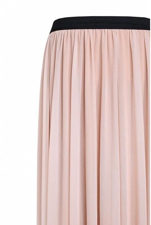 Jasnobeżowa tiulowa spódnica z czarną gumką - HOLLY