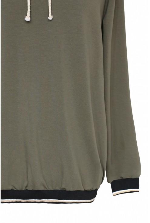Khaki bluza z ozdobnym ściągaczem na dole - KELLY