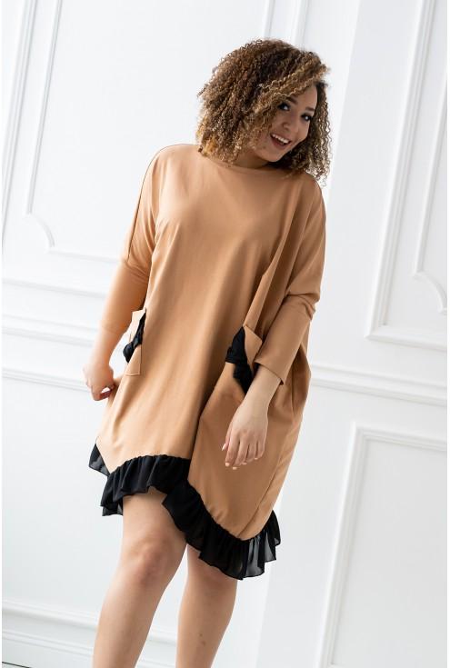 karmelowa dresowa sukienka plus size