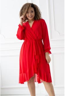 czerwona sukienka Ruben z falbanką - zakrywa kolano plus size