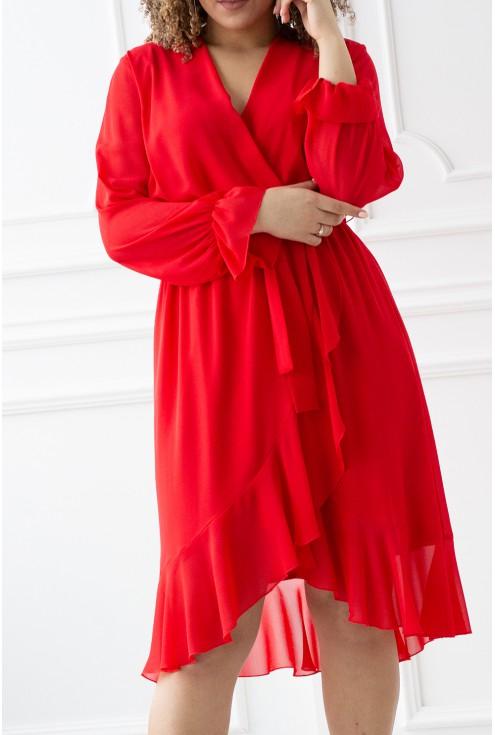 Czerwona sukienka z dekoltem V i wiązaniem w pasie - RUBEN