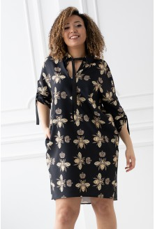 Czarna sukienka oversize z wzorem w pszczoły - ELLIE
