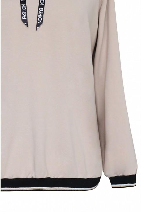 Beżowa bluza z ozdobnym ściągaczem na dole - KELLY