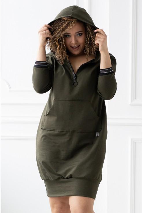 Khaki sportowa tunika/sukienka z kieszonką z przodu - FLORA