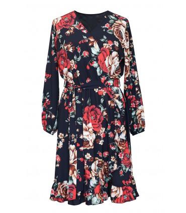 Czarna sukienka z czerwonym kwiatowym wzorem - ADELITA