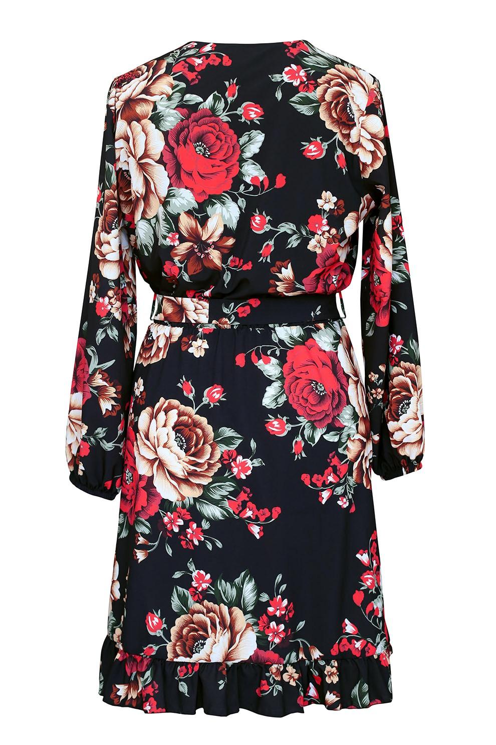 Czarna sukienka z czerwonym kwiatowym wzorem ADELITA