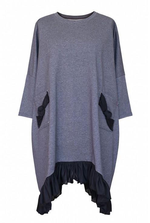 Szara sukienka dresowa z falbaną na dole - ESTA