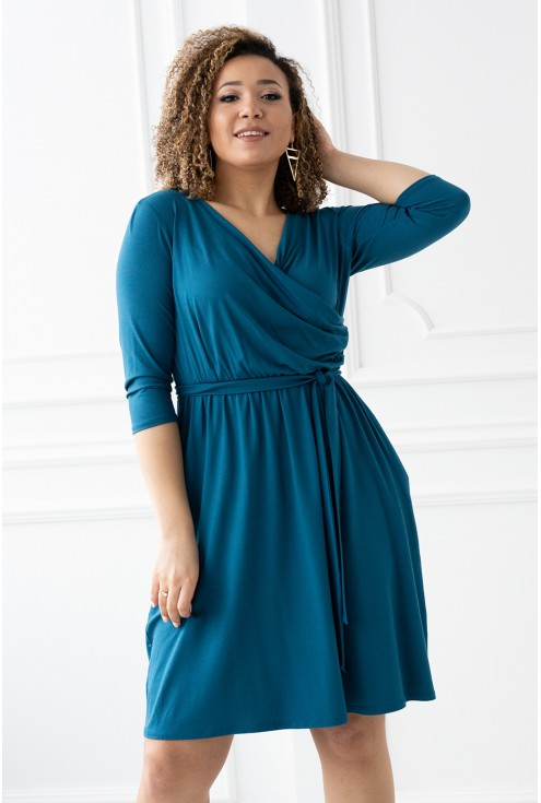 Turkusowa sukienka z kopertowym dekoltem - LUCINNE