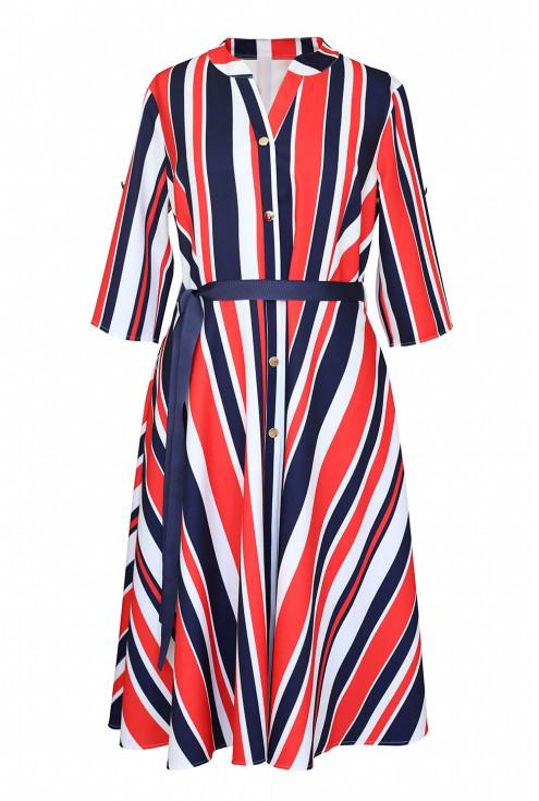 sukienka z wzorem w paski - POPPY
