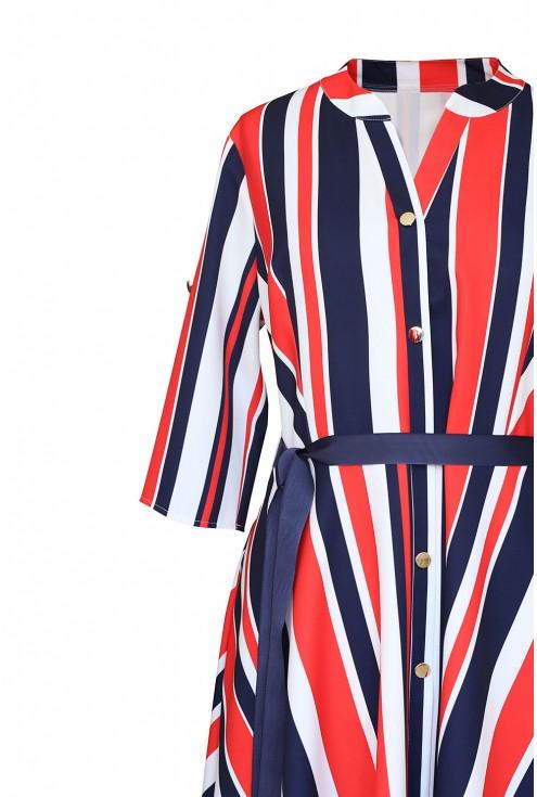 sukienka z wzorem w paski detal