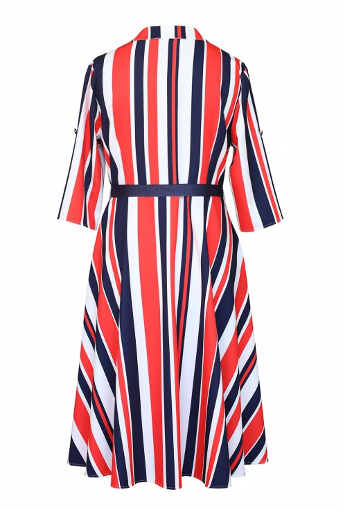 sukienka z wzorem w paski tył