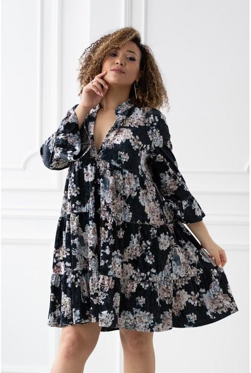 welurowa luźna sukienka xxl
