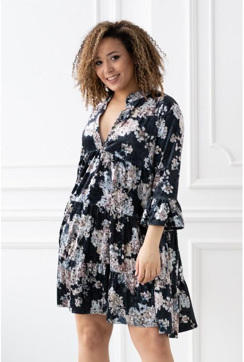 czarna welurowa sukienka kwiatki xxl