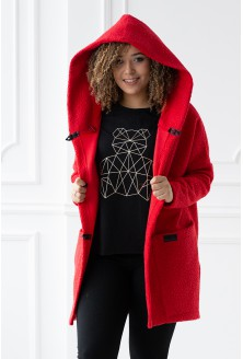 malinowy płaszcz oversize xxl